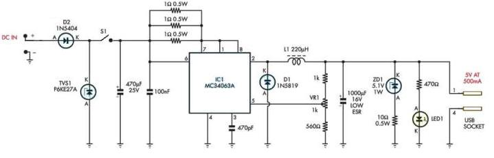 Mc34063 Mp3 Player Charger Circuit Diagram Project