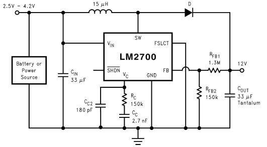 3至12伏的升压转换器电路图lm2700基于