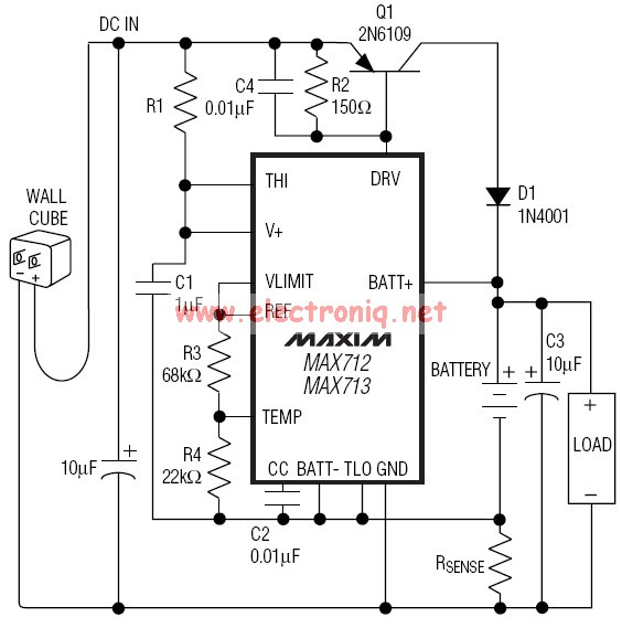 max712 max713 gel cells   nimh   nicd charger circuit schematic