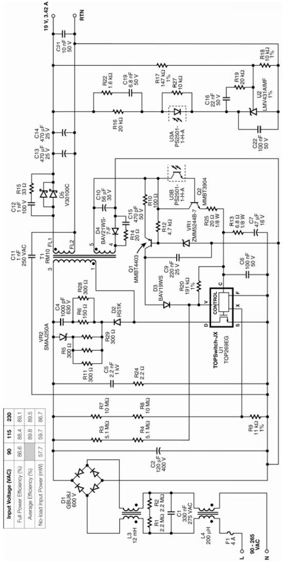 laptop power supply circuit using top269eg  dell computer power supply wiring diagram