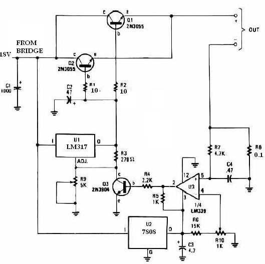 universal battery charger using lm317 and 2n3055universal charger schematic circuit diagram using lm317 regulator and 2n3055 transistors