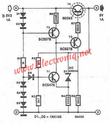 BD242 5V power supply circuit diagram