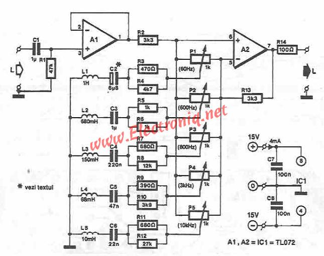 5 bands stereo graphic equalizer circuit diagram