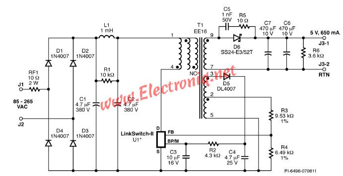 5 volt CV CC charger using LinKSwitch family circuits