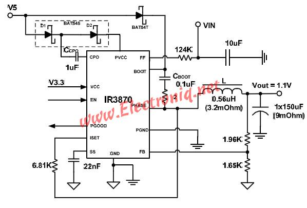 IR3870M DC DC voltage regulator power supply design electronic project
