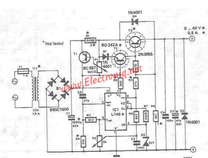 0 40v adjustable power supply with l146 lm723 circuit diagram project
