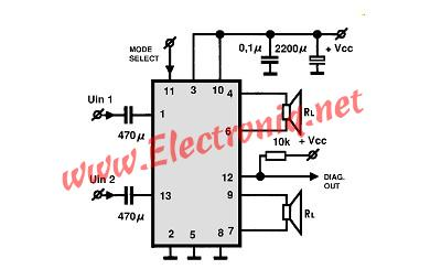 TDA8560 2x40 watt car audio amplifier circuit schematic