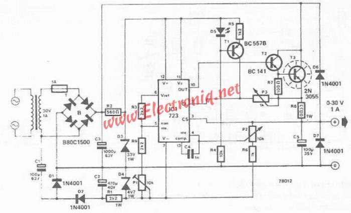 LM723 0-30V adjustable power