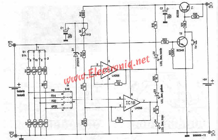 battery state tester circuit diagram, circuit diagram