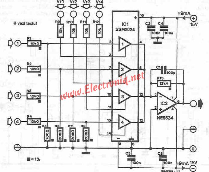 4 Channel Audio Mixer Circuit Diagram Using Ssm2024