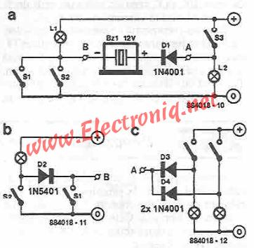 Simple indicator with buzzer circuit diagram