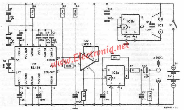 Infrared receiver for audio signal circuit diagram`