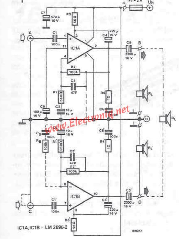 lm2896 audio amplifier circuit diagram project