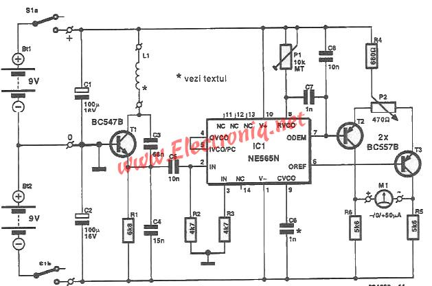 Ne565 Metal Detector Circuit on Copper Wire Coil