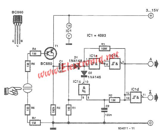 Touch switch electronic circuit Schmitt trigger