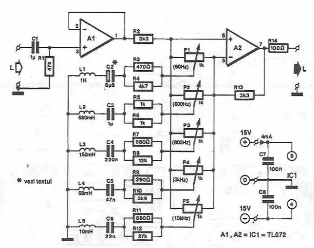 5 bands Stereo graphic Equalizer circuit diagramFree electronics projects and circuit diagrams by Electroniq.net