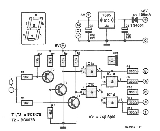 Signals logic tester circuit with display