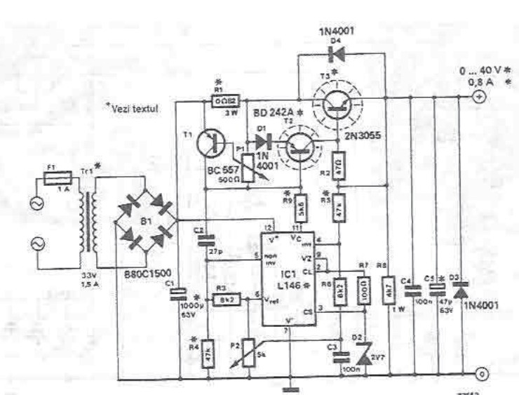 0 40v adjustable power supply with l146 lm723 circuit