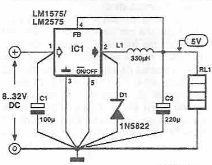 5v switching power supply circuit using LM1575 LM2575