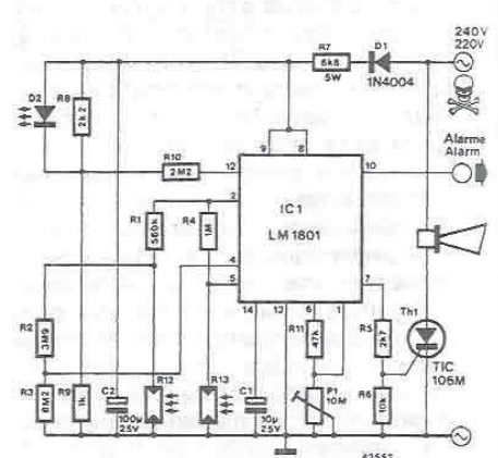 Smoke detector electronic project circuit diagram using LDR and LM1801