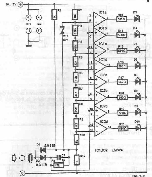 led vumeter circuit using lm324