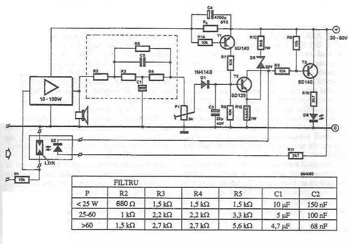 Electronic power limiter circuit diagram