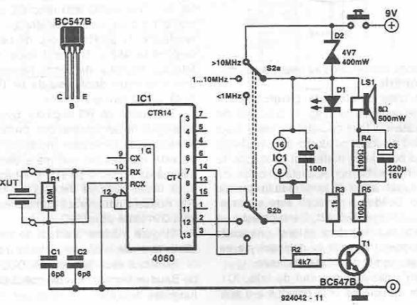 audio quartz crystal tester circuit