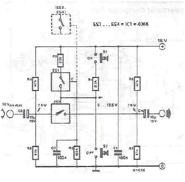 Electronic switch for audio signals circuit diagram electronic project