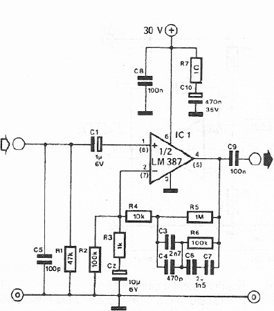 dynamic microphone preamplifier circuit with lm387. Black Bedroom Furniture Sets. Home Design Ideas