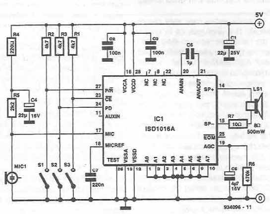 voice recording and playback circuitVoice Recorder Playback Circuit Electronic Circuits And Diagram #5