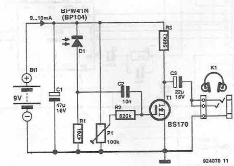 wireless audio receiver using ir rh electroniq net IR Receiver Circuit Diagram IR Receiver Schematic