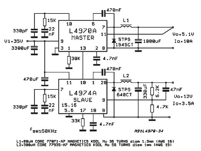 High current power supply using L4970A L4974A 5-12V on