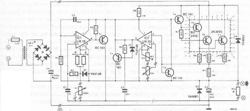 50v Bench Power Supply Using Lm10 2n3055