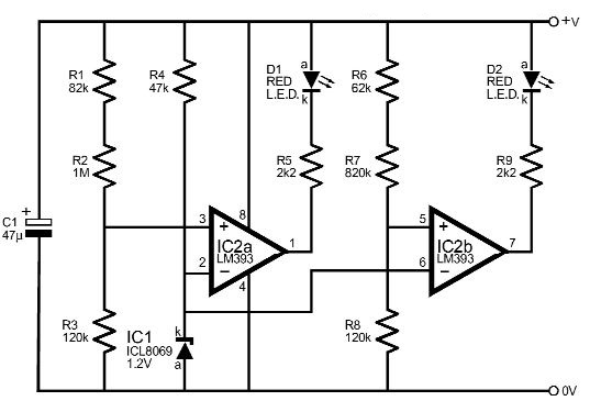 Voltage monitor circuit using LM393