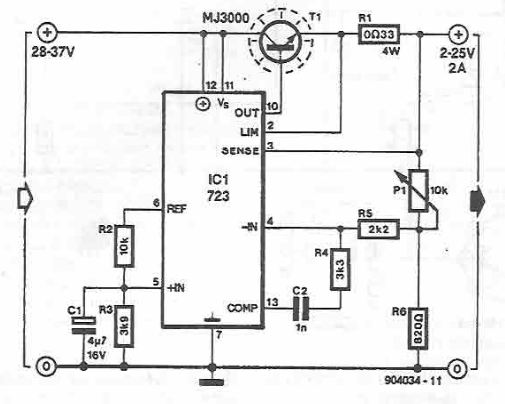 LM723 25V variable power supply circuit