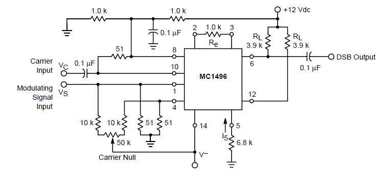 balanced modulator circuit mc1496