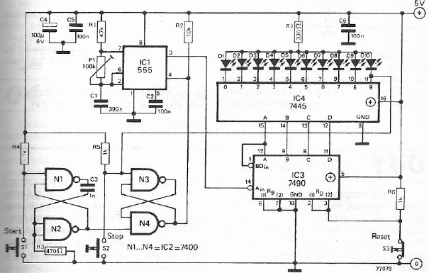 reaction tester electronic project circuit