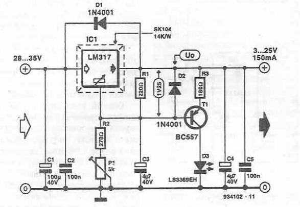 shortcircuit indicator for voltage stabilizer