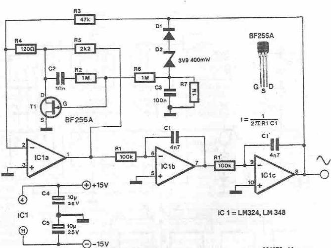Sinusoidal signal generator circuit diagram electronic project