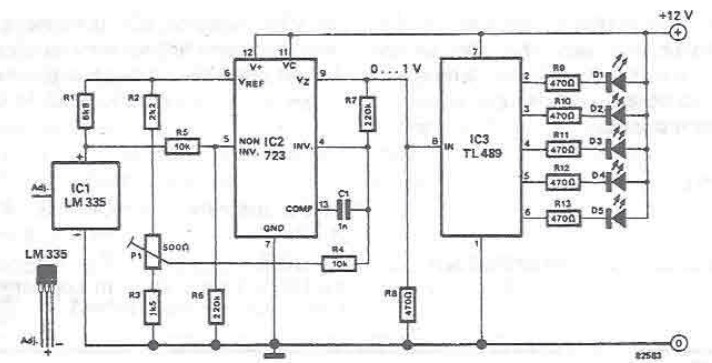 temperature indicator electronic circuit using leds