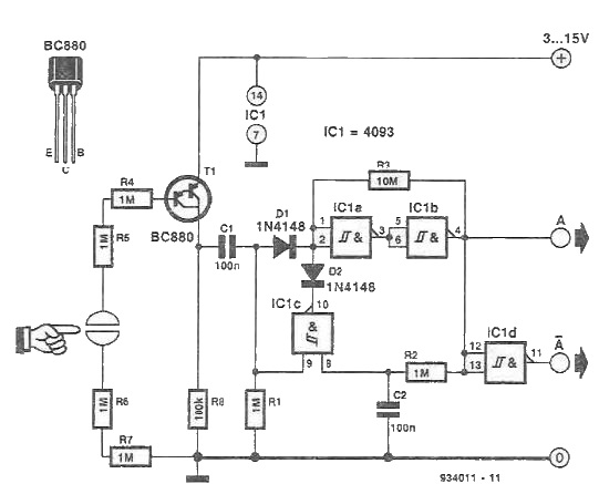 touch switch electronic circuit based on a schmitt trigger