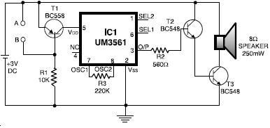 Electronics Circuit Diagram Projects | Um3561 Alarm Project Circuit