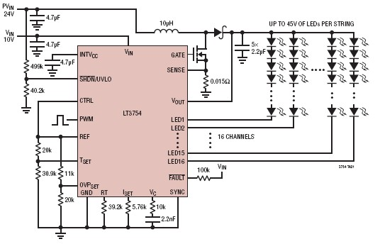 16 channel led driver circuit using lt3754