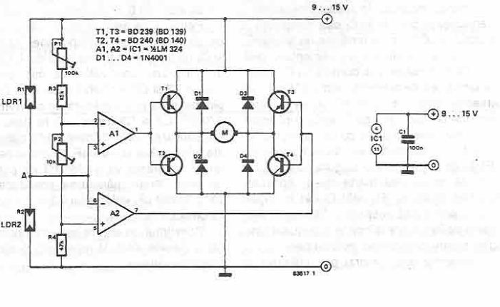 Electronic System For Solar Orientation Circuit Diagram