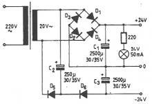 Symmetrical power sources circuit diagram